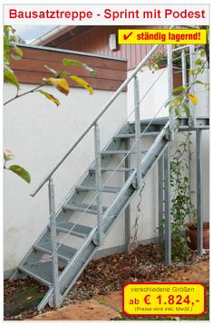 Bausatztreppe Sprint mit Podest